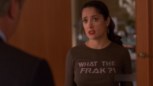 "Salma Hayek in her ""What the frak?!"" shirt"